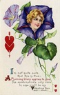vintage valentines day card pretty women morning glory