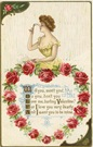 vintage valentines pretty women brown hair red roses