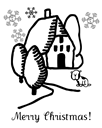 Free Christmas coloring page house and puppy1