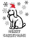 Free Christmas coloring page puppy and snowflakes2