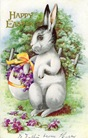 free printable greeting card Easter bunny carrying flower basket made of an Easter egg