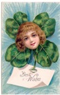free St. Patricks Day vintage card with lass and large Irish shamrock