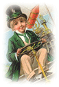 free vintage clip art St Patricks Day boy in airplane
