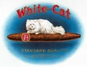 free vintage clip art white persian cat White cat cigar label