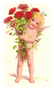 free vintage cupid with red roses Valentines Day clip art