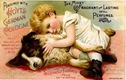 free vintage dog art Hoyts cologne label child with dog