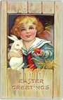 free vintage Easter card little boy in sailor suit with white Easter bunny