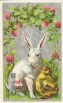 free vintage Easter card with bunny and yellow baby chick