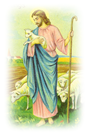 free vintage Easter clip art Jesus with lambs and staff