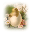 free vintage Easter egg chick and flowers clip art