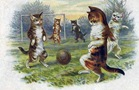 free vintage fathers day card cats playing soccer