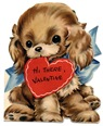 free vintage kids valentine card puppy with red heart card in mouth