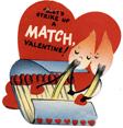 free vintage kids valentine cards lets strike up a match