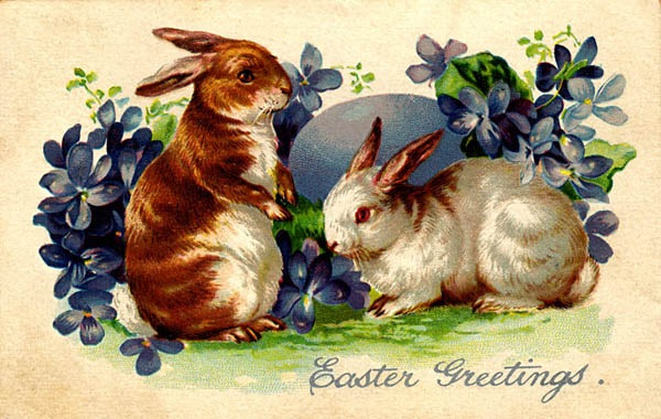 free vintage printable easter bunnies with blue flowers and easter egg