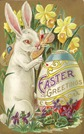 free vintage printable greeting card Easter bunny painting ornate easter egg