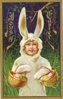 free vintage printable greeting card little girls dressed up as Easter bunny