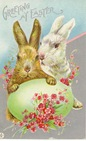 free vintage printable greeting cards Easter bunnies with green Easter egg and pink flowers
