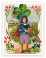 free vintage St Patricks Day boy with flowers and large shamrock