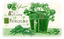free vintage St Patricks Day clip art green hat and gloves shamrocks