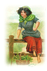 free vintage St Patricks Day clip art Irish lass with basket