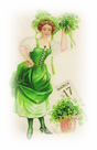 free vintage St Patricks Day clip art woman with March 17 calendar page and shamrocks