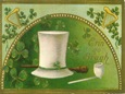 free vintage St. Patricks Day shamocks top hat shillalah pipe greeting card