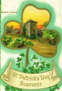 free vintage St. Patricks Day souvenir card with blarney castle and Ireland shamrock