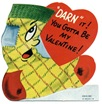 free vintage valentine card sock with red heart