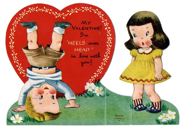 ... Free Vintage Valentine Card Two Kids Head Over Heels