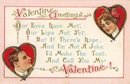 free vintage Valentine card two red hearts with man and woman