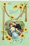 free vintage valentines day card couple surrounded by heart and yellow daisies