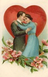 free vintage valentines day card happy couple with red heart and pink flowers