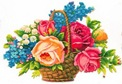 free vintage Victorian clip art flower basket with pink peach roses