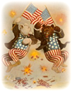 July-4th-2-bears-firecrackers-American-flags-patriotic