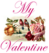 My Valentine free vintage clip art with lovebirds and roses