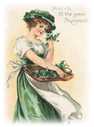 St Patricks Day clip art woman with basket of shamrocks