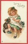vintage birthday card little girl with two kittens