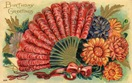 vintage birthday cards feather fan red bow mums