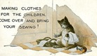 vintage cat clip art making clothes for the children