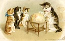 vintage cat clipart cat teaching kittens with globe