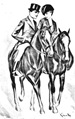 vintage horse coloring page two riders