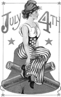 vintage july 4th woman and fireworks clip art