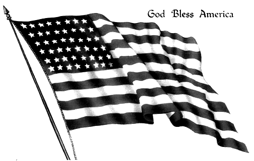 Vintage American Flag Clip Art Black And White Uncle Sam Patriotic God Bless America