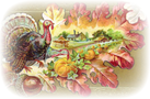 vintage Thanksgiving clip art turkey acorns pumpkins farm