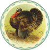 vintage Thanksgiving clip art turkey in kitchen