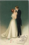 vintage Valentine card loving couple dancings