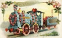 vintage Valentine clip art train made of flowers