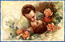 vintage valentines day card couple kissing among pink and red roses