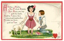 vintage Valentines day card happy couple a dillar a dollar and lamb