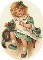 free vintage St. Patricks Day little girl in green dress with kittens